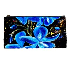 Bright Blue Abstract Flowers Pencil Cases by timelessartoncanvas