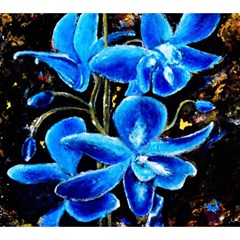Bright Blue Abstract Flowers Magic Photo Cubes