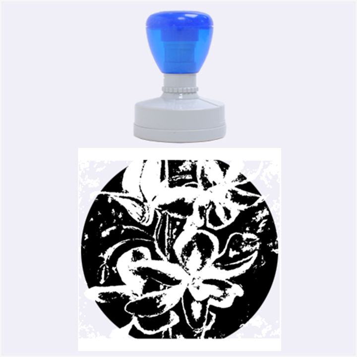 Bright Blue Abstract Flowers Rubber Round Stamps (Large)