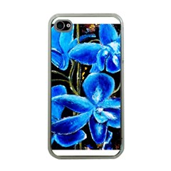 Bright Blue Abstract Flowers Apple Iphone 4 Case (clear) by timelessartoncanvas