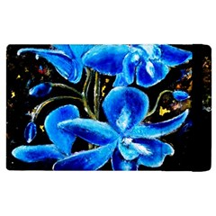 Bright Blue Abstract Flowers Apple Ipad 2 Flip Case by timelessartoncanvas
