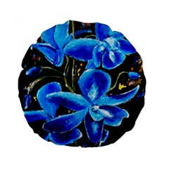 Bright Blue Abstract Flowers Standard 15  Premium Round Cushions