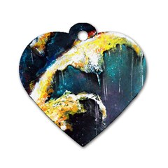 Abstract Space Nebula Dog Tag Heart (one Side)