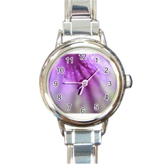Purple Flower Pedal Round Italian Charm Watches by timelessartoncanvas