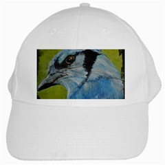 Blue Jay White Cap by timelessartoncanvas