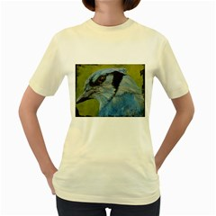 Blue Jay Women s Yellow T Shirt by timelessartoncanvas