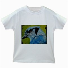 Blue Jay Kids White T Shirts by timelessartoncanvas