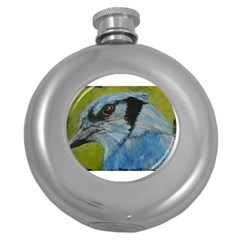 Blue Jay Round Hip Flask (5 Oz) by timelessartoncanvas