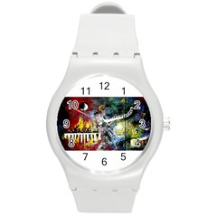 Abstract Music Painting Round Plastic Sport Watch (m) by timelessartoncanvas