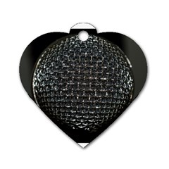 Modern Microphone Dog Tag Heart (one Side) by timelessartoncanvas