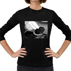 Guitar Player Women s Long Sleeve Dark T Shirts by timelessartoncanvas