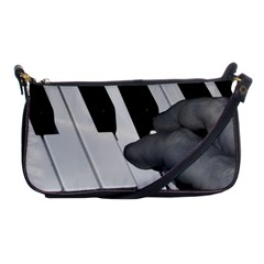 The Piano Player Shoulder Clutch Bags by timelessartoncanvas