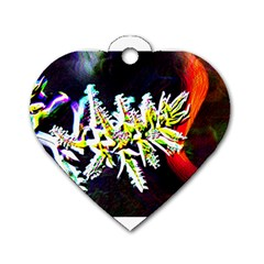 Digitally Enhanced Flower Dog Tag Heart (two Sides) by timelessartoncanvas