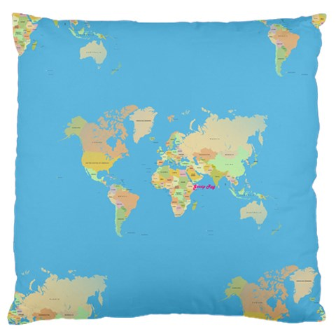Globe Map Standard Flano Cushion Case (two Sides)