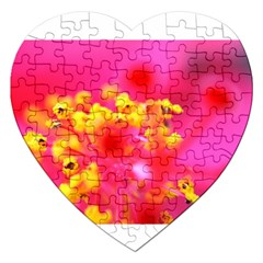 Bright Pink Hibiscus Jigsaw Puzzle (heart) by timelessartoncanvas