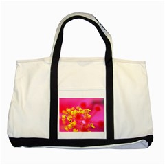 Bright Pink Hibiscus Two Tone Tote Bag  by timelessartoncanvas