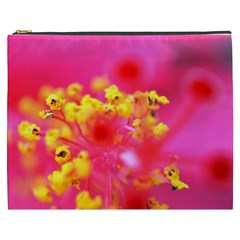 Bright Pink Hibiscus Cosmetic Bag (xxxl)