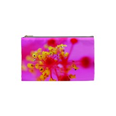 Bright Pink Hibiscus 2 Cosmetic Bag (small)  by timelessartoncanvas