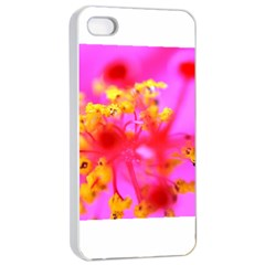 Bright Pink Hibiscus 2 Apple Iphone 4/4s Seamless Case (white) by timelessartoncanvas