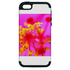 Bright Pink Hibiscus 2 Apple Iphone 5 Hardshell Case (pc+silicone)