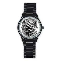 Pinecone Spiral Stainless Steel Round Watches by timelessartoncanvas