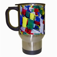 Tibetan Buddhist Prayer Flags Travel Mugs (white) by CrypticFragmentsColors
