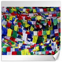 Tibetan Buddhist Prayer Flags Canvas 16  X 16   by CrypticFragmentsColors