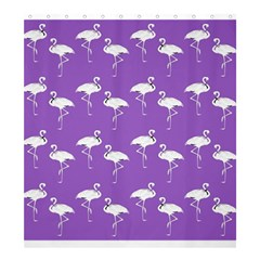 Flamingo White On Lavender Pattern Shower Curtain 66  X 72  (large)  by CrypticFragmentsColors