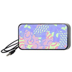 Girls Bright Pastel Abstract Blue Pink Green Portable Speaker (black) by CrypticFragmentsColors