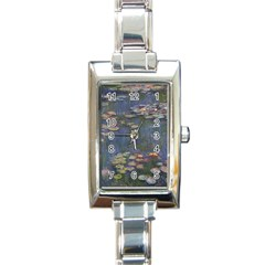 Claude Monet   Water Lilies Rectangle Italian Charm Watches by ArtMuseum