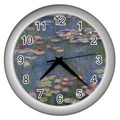 Claude Monet   Water Lilies Wall Clocks (silver)  by ArtMuseum
