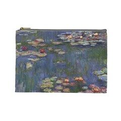 Claude Monet   Water Lilies Cosmetic Bag (large)  by ArtMuseum