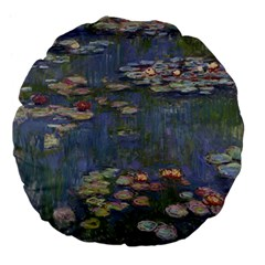 Claude Monet   Water Lilies Large 18  Premium Flano Round Cushions by ArtMuseum