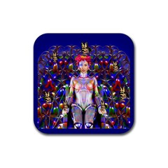 Robot Butterfly Rubber Coaster (square)  by icarusismartdesigns