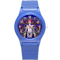 Robot Butterfly Round Plastic Sport Watch (s) by icarusismartdesigns