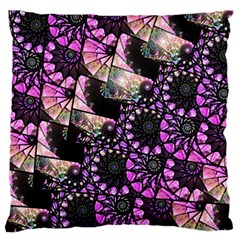 Hippy Fractal Spiral Stacks Large Flano Cushion Cases (two Sides)  by KirstenStar