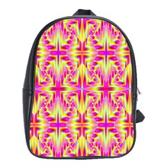 Pink And Yellow Rave Pattern School Bags(large)  by KirstenStar