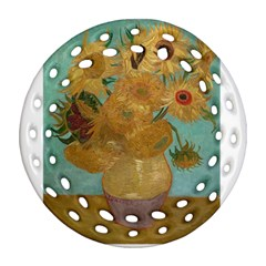Vincent Willem Van Gogh, Dutch   Sunflowers   Google Art Project Round Filigree Ornament (2side) by ArtMuseum