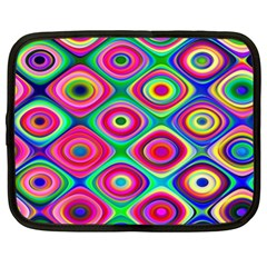 Psychedelic Checker Board Netbook Case (xl)  by KirstenStar