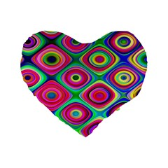 Psychedelic Checker Board Standard 16  Premium Heart Shape Cushions by KirstenStar