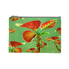 Tropical Floral Print Cosmetic Bag (large)