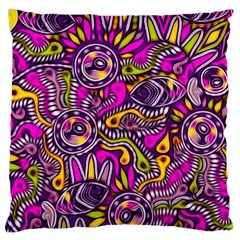 Purple Tribal Abstract Fish Large Cushion Cases (one Side)
