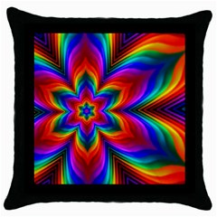 Rainbow Flower Throw Pillow Cases (black) by KirstenStar
