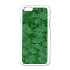 Woven Skin Green Apple Iphone 6 White Enamel Case by InsanityExpressed