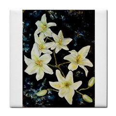 Bright Lilies Tile Coasters by timelessartoncanvas