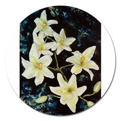 Bright Lilies Magnet 5  (round) by timelessartoncanvas