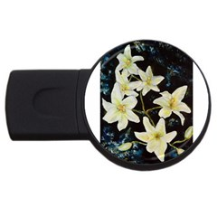Bright Lilies Usb Flash Drive Round (2 Gb)  by timelessartoncanvas