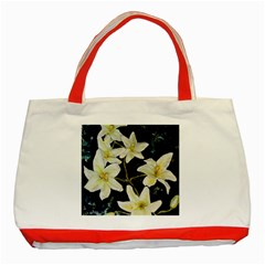 Bright Lilies Classic Tote Bag (red)  by timelessartoncanvas