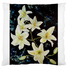 Bright Lilies Large Flano Cushion Cases (one Side)  by timelessartoncanvas