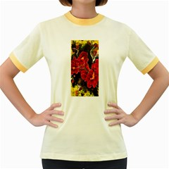 Red Orchids Women s Fitted Ringer T Shirts by timelessartoncanvas